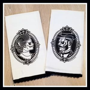 New! Sourpuss Set of Day of the Dead Hand towels